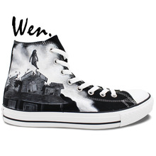 Wen Sneakers Hand Painted Shoes Pierce The Veil Design Custom Black High Top Canvas Sneakers Man Woman Gifts