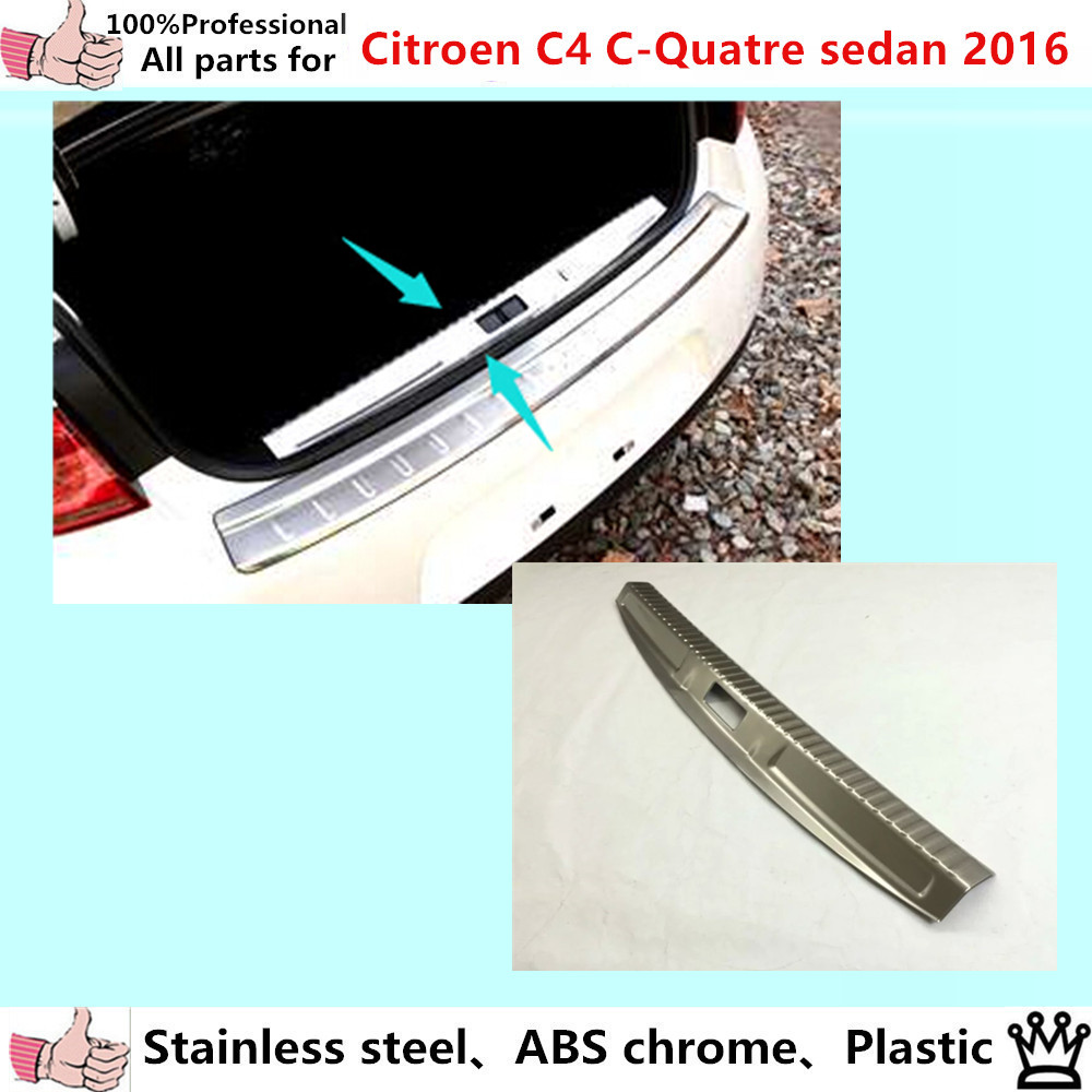 цена Car cover Stainless Steel Inner built Rear Bumper trim plate lamp frame threshold pedal 1pcs for Citroen C4 C-Quatre Sedan 2016