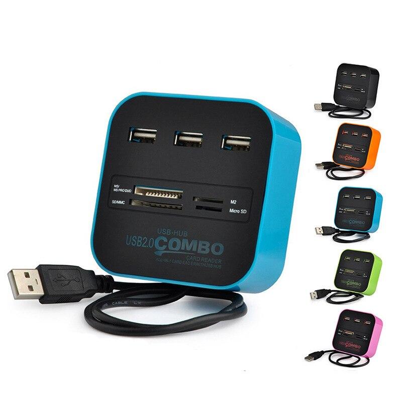 Twofro usb хаб 2,0 3 порта TF Micro SD кард ридер слот USB Combo мульти все в одном USB разветвитель кабели для ноутбука Macbook-in Считыватели карт памяти from Компьютер и офис on AliExpress