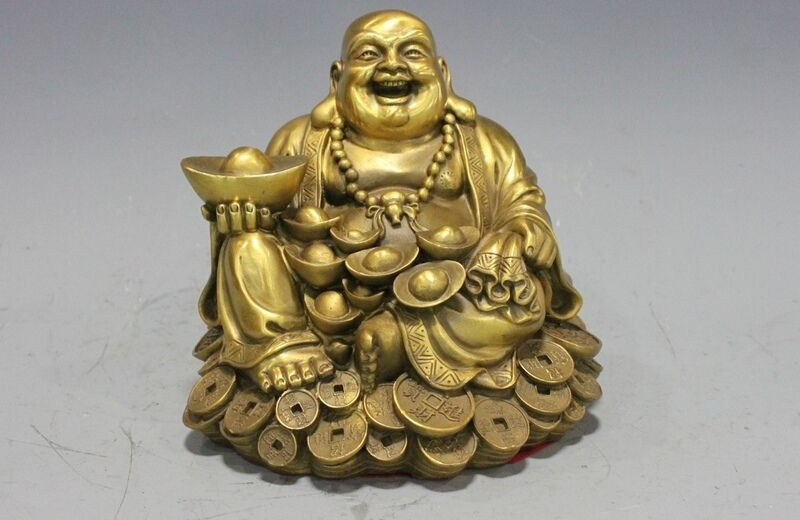 Chinese Temple Buddhism Hall Brass Copper Maitreya Buddha Hold Yuanbao StatueChinese Temple Buddhism Hall Brass Copper Maitreya Buddha Hold Yuanbao Statue