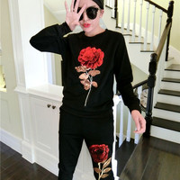 Baby Girl Spring Autumn Clothes Set Kid Rose Floral Sequins Pullover Children Clothes Shirt Pants Two
