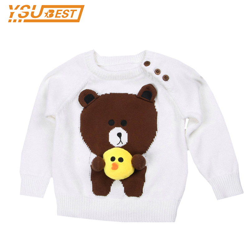 2017 New Handmade Sweater Baby Girls Clothes Jumper Spring Autumn Kids Costume Cute Bear Embroidered Boys Girls Sweater