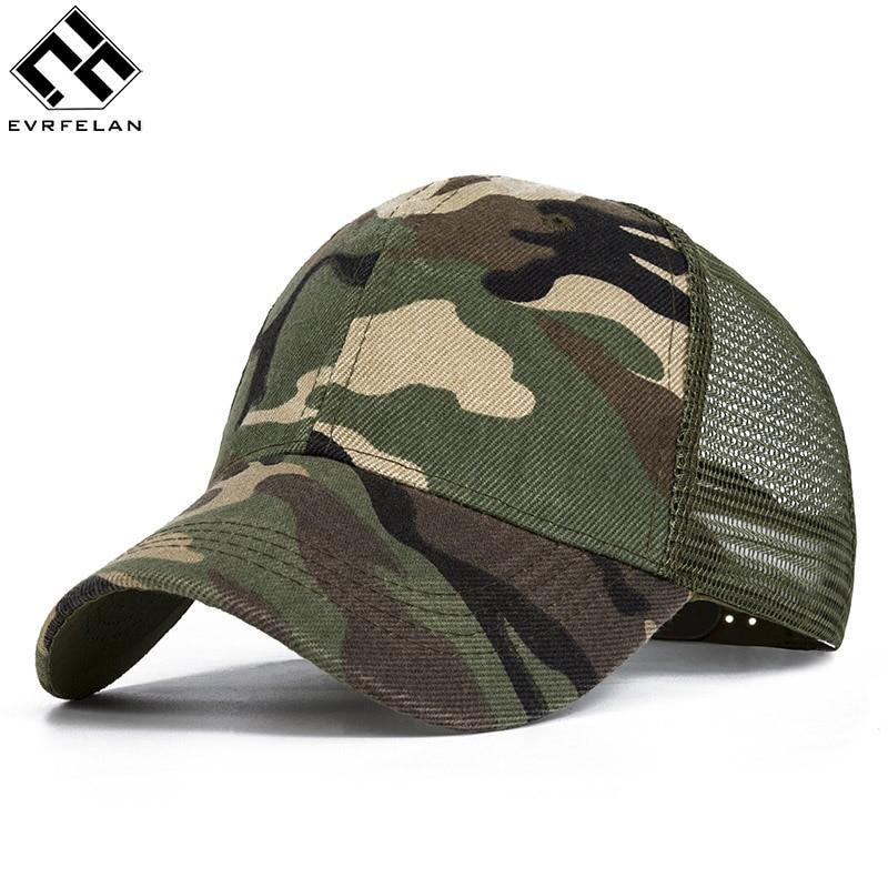 a6434570cae Evrfelan Camo Mesh Baseball Cap Men Camouflage Caps Masculino Summer Hat Men  Army Cap Trucker Snapback