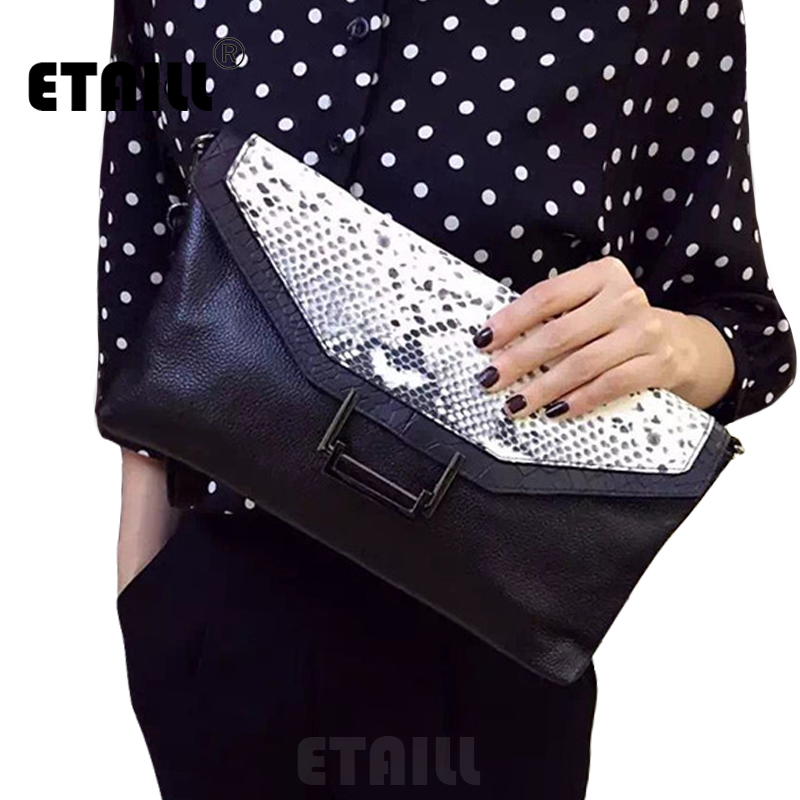 Genuine Leather Serpentine Pattern Leather Clutch Bags Python Bag Famous Brand Snake Pattern Celebrity Envelope Evening