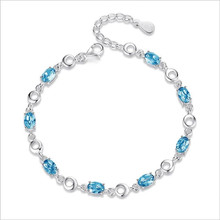 Everoyal Top Quality Silver 925 Sterling Bracelets For Women Accessories Charm Zircon Ocean Blue Oval Female Jewelry