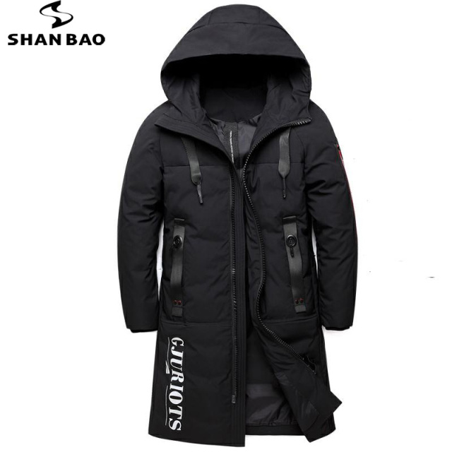 09265f64e209 SHNABAO brand winter long hooded down jacket thick warm fashion letter  zipper pocket men s casual down