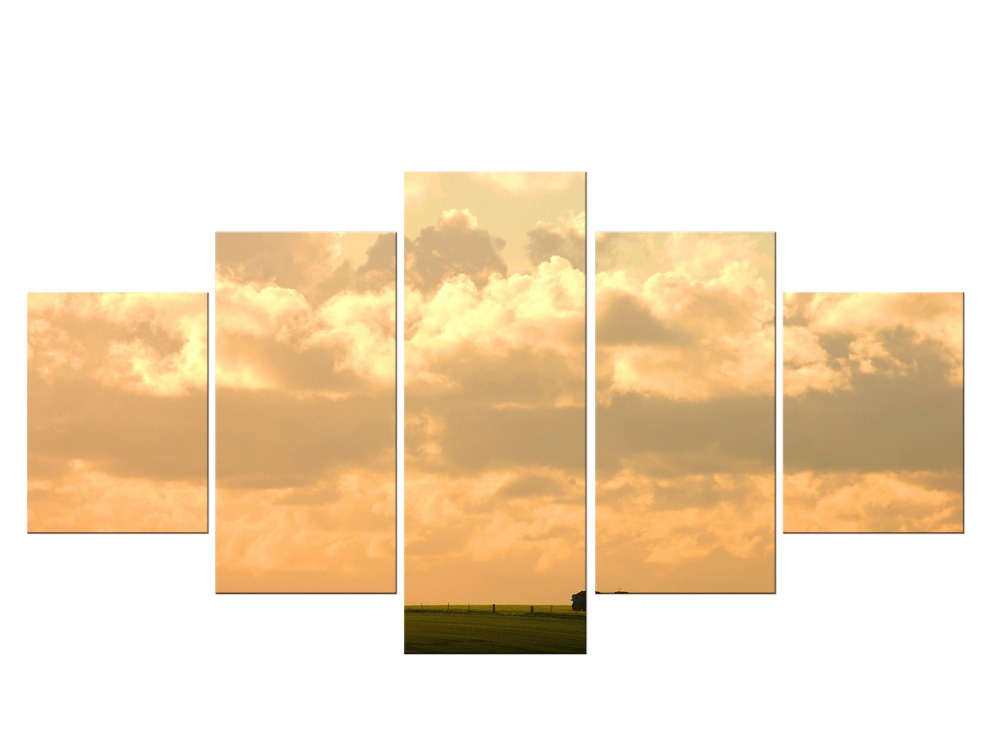 5 Pieces Canvas Art Grass Sunset Field Sky Home Decor Wall Art Painting Canvas Prints for Living Room Painting Framed