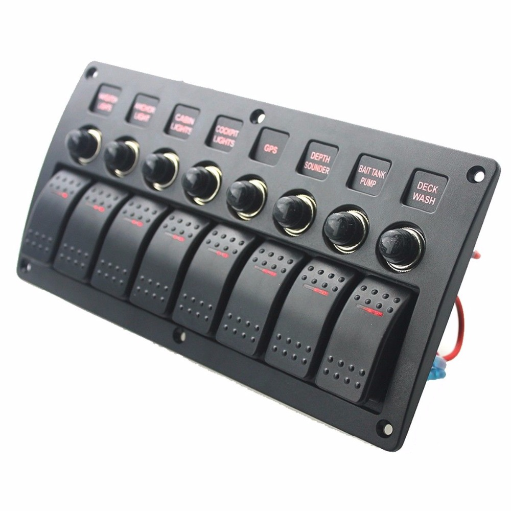 US $64 99 |Marine Electric 8 Gang Red LED ON OFF Rock Switch Panel for Boat  Rvs-in Marine Hardware from Automobiles & Motorcycles on Aliexpress com |