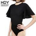 Hdy haoduoyi 2017 verão mulheres moda sexy camis sólida manga borboleta gola slim curto bodysuits macacões pretos