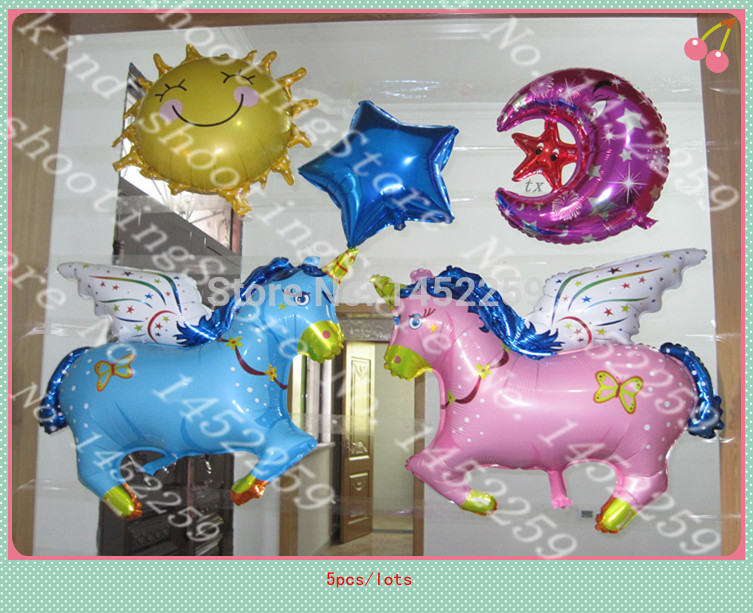 XXPWJ new 5pcs / lot aluminum balloons children's toys Pegasus Moon Party Happy