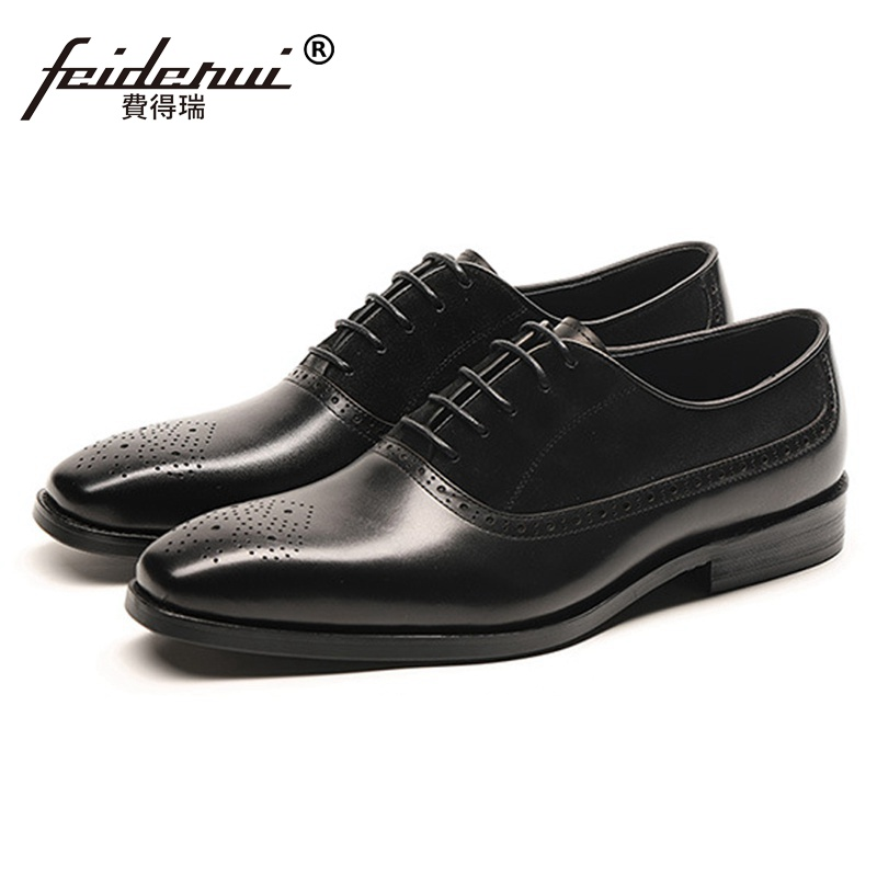 Luxury Brand Cow Suede Man Handmade Party Wedding Shoes Genuine Leather Mens Pointed Toe Medallion Brogue Prom Footwear SS376Luxury Brand Cow Suede Man Handmade Party Wedding Shoes Genuine Leather Mens Pointed Toe Medallion Brogue Prom Footwear SS376