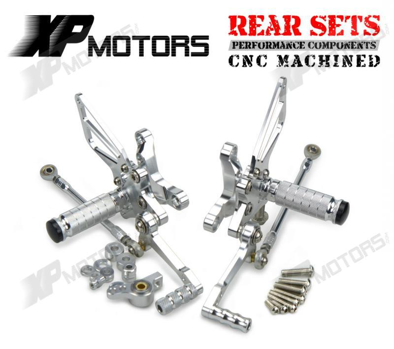 Silver CNC Adjustable Foot Pegs Billet Racing Rearset Kits Rear Sets For Ducati 1098 R 2007 2008 2009