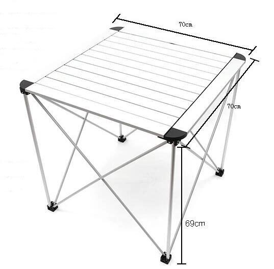 Table pliante en alliage d'aluminium 70*70*69 CM Table de Barbecue extérieure Portable Table de Camping bureau de pique-nique