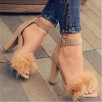 Elegant Women Wine Red Suede Thick Heel Sandals Cute Fur Embellished Dress Shoes Ankle Strap Chunky Heel Wedding Shoes