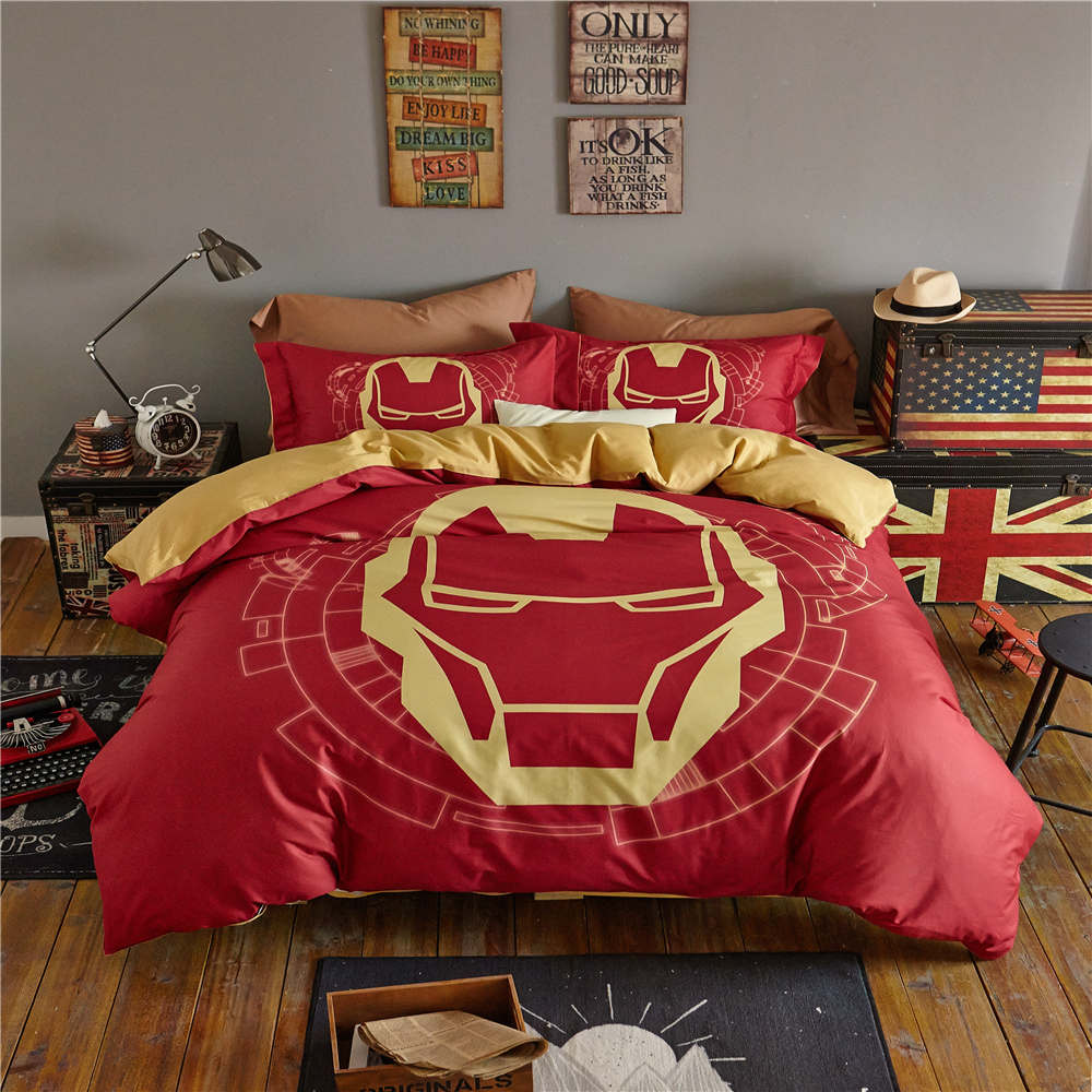 Captain America Mask 3D Printed Bedding Set Bedspread Comforter Duvet Covers Single Twin Full Queen Size Cotton Woven Yellow Red