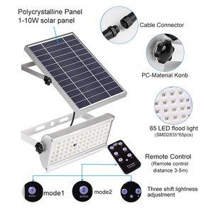Image 3 - Светильник на солнечной батарее, 1500 лм, водонепроницаемый садовый светильник ing, 65 светодиодов, два режима работы с пультом дистанционного управления, светильник с датчиком движения