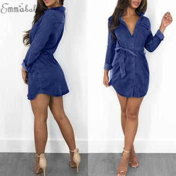 2018 New Fashion Hot Sexy Charming Women's Blue Jeans Pocket Long Sleeve Loose Shirt Mini Dress 2