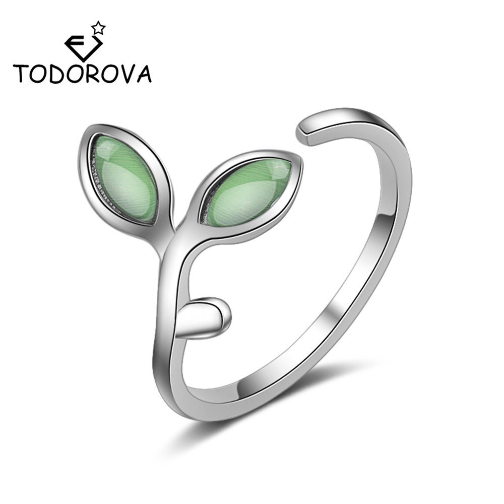 Todorova Green Opal Leaves Buds Open Rings for Women Adjustable Wedding Engagement Rings High Quality Creative Fashion Jewelry