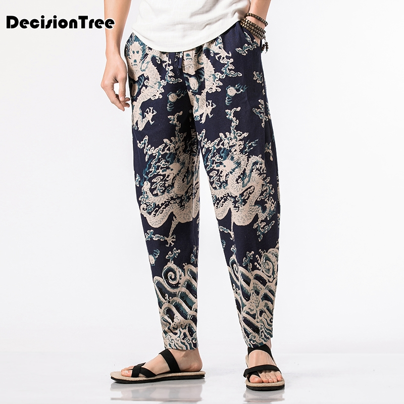 2019 summer china style men wide leg harem pant drop crotch cross pant male casual loose nepal plus trousers