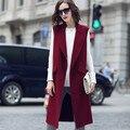 2017 otoño invierno mujeres chaleco largo sin mangas chalecos streetwear de la moda de lana chaleco suelta más mujeres del tamaño chaleco xs-4xl