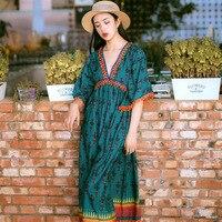 Summer dress 2019 Nepal holiday dress ethnic style long dress watermelon red elegant dress women clothes