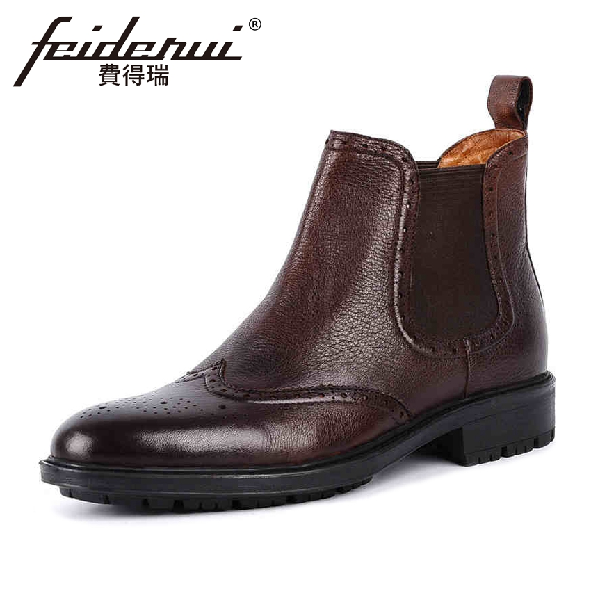 Vintage Wingtip Genuine Leather Men's Martin Ankle Boots British Round Toe Platform Handmade Cowboy Brogue Shoes For Man YMX71 british style genuine leather men s platform martin ankle boots round toe handmade cowboy outdoor formal dress man shoes ymx447