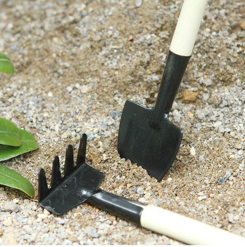 3Pcs/Set Gardener Bonsai Small Shovel Rake Spade Raising flowers Mini Garden Tools Wood Handle Metal Head Kids Tool Children Toy