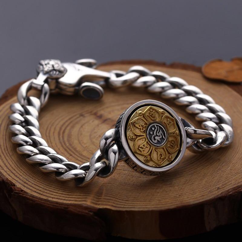 2019 nouveau bouddha 100% 925 Bracelet en argent Sterling bijoux hommes femmes rotatif ethnique coeur Sutra Mantra chaîne Bracelet Bracelet-in Bracelets ficelle et chaîne from Bijoux et Accessoires    1