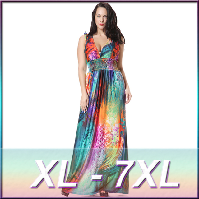 Plus Size V Neck Maxi Dress Women Summer Sleeveless Multi Peacock Feathers  Print Empire Backless Long Beach Dresses 6XL 7XL-in Dresses from Women s  Clothing ... 5445179f9eab