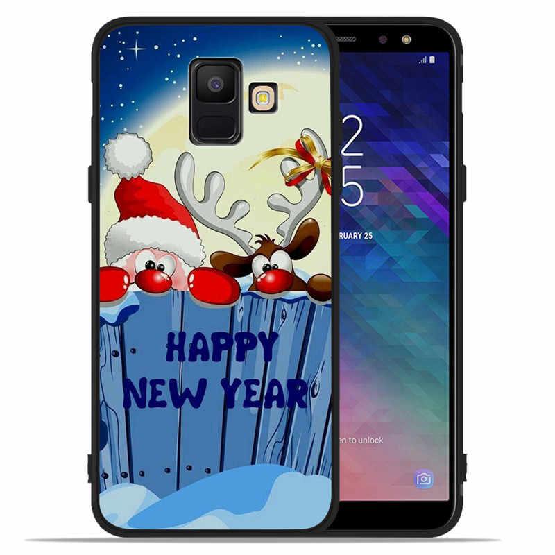 Selamat Natal untuk Samsung Galaxy A9 A8 A7 A6 A5 A3 J3 J4 J5 J6 J8 PLUS 2017 2018 Telepon case Cover Coque Etui Rusa Silikon