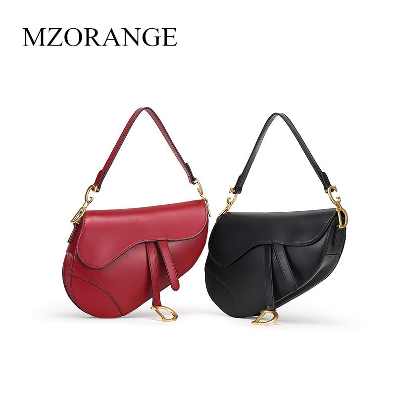 MZORANGE Saddle Bags Genuine Cowhide Leather Handbags For Women 2018 Fashion Famous Luxury Style Crossbody Bag цена