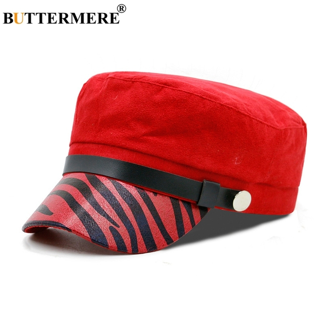 ec81fa5243dd BUTTERMERE Suede Leather Mens Military Hats Red Leopard Vintage Casual  Baker Boy Hat Female Spring Summer Army Sailor Flat Hat