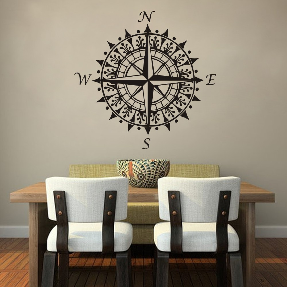 Nautical compass wall decal nautical anchor wall decal with nautical compass wall decal vinyl wall art graphic sticker home wall decals nautical amipublicfo Image collections