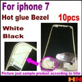 10pcs For iphone 7 hot glue Black/White Front Bezel with liquid glue LCD Middle Frame Housing Parts Chrome Screen Holder