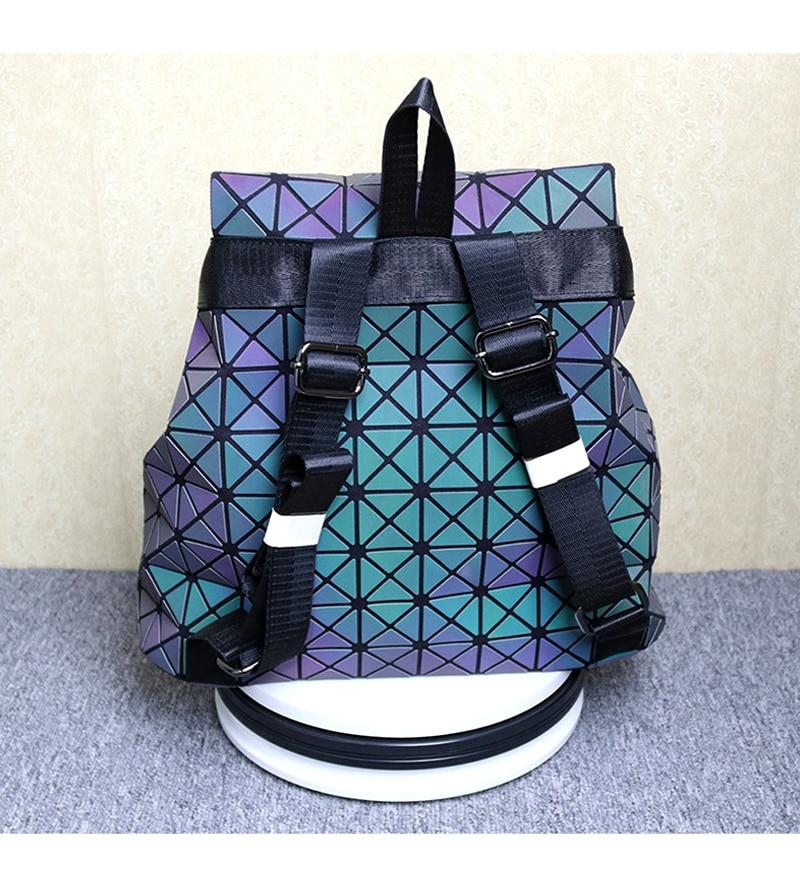 Ladie Fashion Luminous Backpack Diamond Lattice Bag Geometric Travel StorageBag