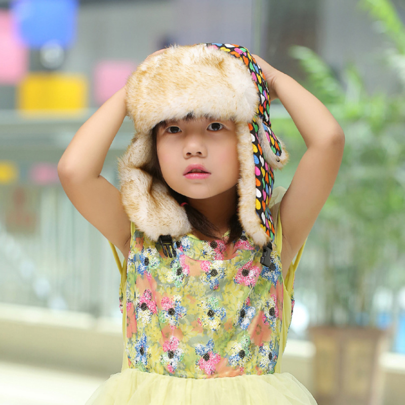 Printed Love Heart Winter For Parents Children Colorful Bomber Russians Hats New