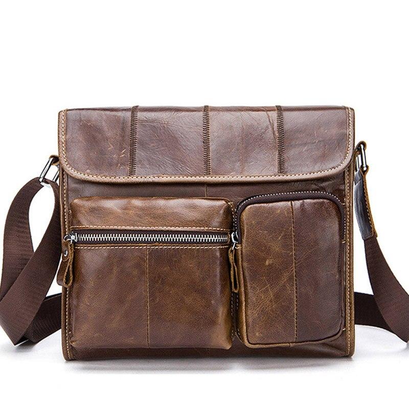 Brand Cowhide Handbag Men 100% Genuine Leather Shoulder Bag High Quality Men Messenger Bags Crossbody For Men Briefcase Bags