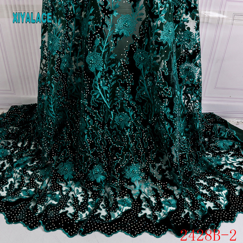Nigerian Lace Fabric 2019 High Quality Lace Embroiery African Velvet Lace Fabric With Stones Beads For