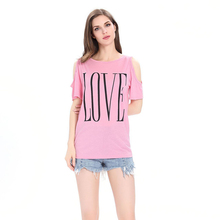 Women Tops Loose Cotton Off Shoulder Short Sleeve 2019 Arrival Female T-shirts Personality Daily Round Collar Printing Love