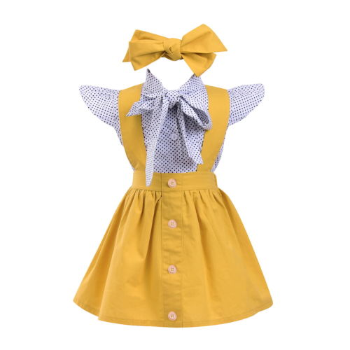 Cute Baby Kids Girls Short Sleeve Flying Sleeve Tops Polka Dots Blouse Suspender Skirt Headband 3PCS Summer Outfits Clothes Set 3pcs set newborn infant baby boy girl clothes 2017 summer short sleeve leopard floral romper bodysuit headband shoes outfits
