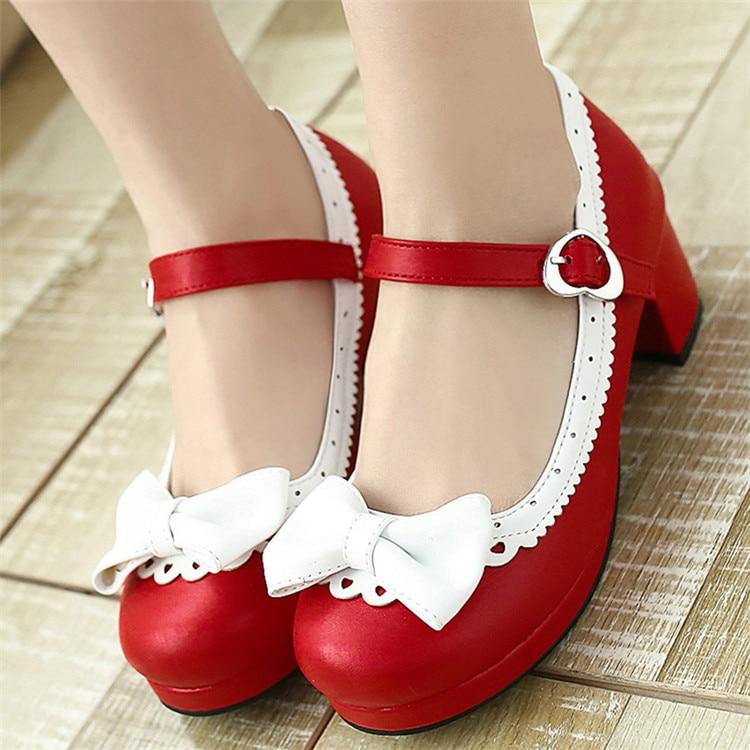 PXELENA Plus Size 34-43 Lolita Mary Janes Women High Heels Shoes Sweet Bowknot Ruffles Dress Party Wedding Shoes Bridal Princess(China)