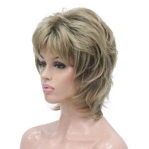 Image 2 - StrongBeauty נשים סינטטי פאה קצר שיער ערמוני/בלונד טבעי פאות בלי כומתה שכבות תסרוקות