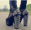 8-El Envío Libre de La Venta Caliente de Rock Night Club Zapatos Mujer Bombas de la Plataforma de Las Sandalias de Las Señoras Mujeres Sexy Remaches zapatos de Tacón Alto Talón grueso