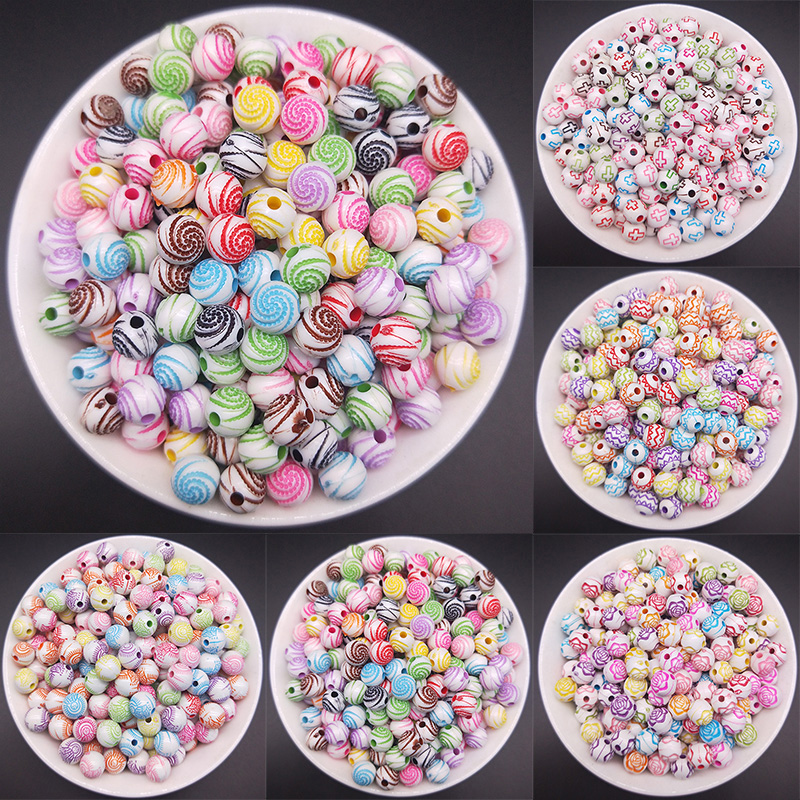 Dia 8mm 5 Style Mixed Color Straight Hole Round Beads Ripple Charm Flowers Beads DIY Making Jewelry Accessories 60pcs/pack