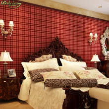 Beibehang Inglaterra vintage rojo azul a cuadros papel tapiz lisos sala de estar dormitorio cabecera fondo de pared papel de pared