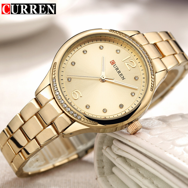 2018 Curren Women Watches Top Brand Luxury Gold Steel Quartz Watch Fashion Ladies Eegant Dress Clock Wristwatch relogio feminino swiss fashion brand agelocer dress gold quartz watch women clock female lady leather strap wristwatch relogio feminino luxury