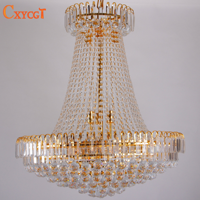 Free Shipping Royal Empire Golden Crystal Chandelier Light French Crystal Ceiling Pendant Lights D500mm X H450mm