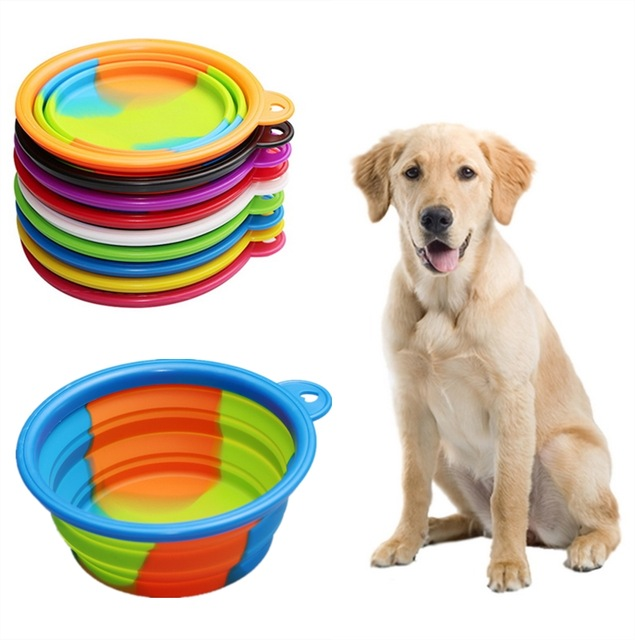 1Pcs Portable Travel Dog Feeder Bowl Water Food Container Silicone Small Mudium Dog Folding Dog Bowl Outfit Pet Accessories