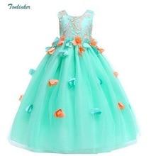 Tonlinker 2018 New Girls Prom Party Princess Dress Elegant Girl Flower Long Dresses Childrens day Wedding Birthday Clothes