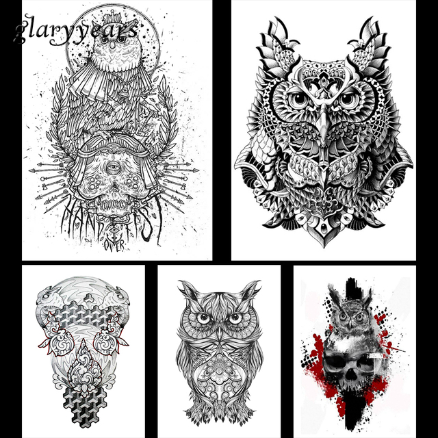 5 pieces owl pattern design waterproof body arm leg art tattoo sticker animal skull decal temporary